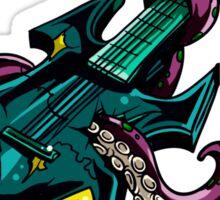 Rock Guitar Trashed By Purple Octopus Sticker