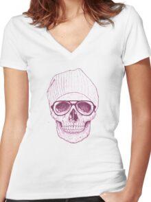 Cool skull Women's Fitted V-Neck T-Shirt