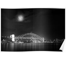 Sydney Harbour at Night B&W Poster