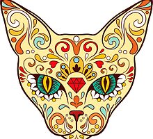 Cat Sugar Skull Day Of The Dead design by headpossum