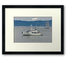 The L.E. Aoife leads out the Tall Ships through Waterford Harbour Framed Print