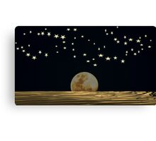 The Moon and Stars in a Night Sky with Cool Water Canvas Print
