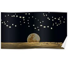 The Moon and Stars in a Night Sky with Cool Water Poster
