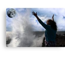 lone woman with raised hands facing a wave and full moon on cliff edge Canvas Print