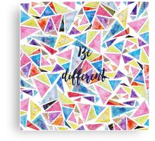 "Watercolor hand paint geometric triangles pattern ""be different"" quote Canvas Print"