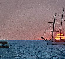 Sunset Sail Enhanced  by Randy Richards