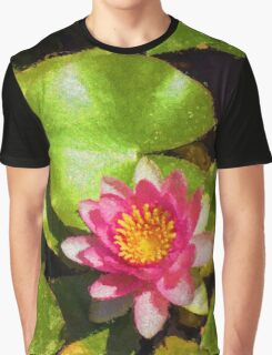 Pretty in Pink - a Waterlily Impression - Vertical Graphic T-Shirt