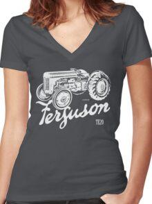 Classic Ferguson TE20 script and illustration Women's Fitted V-Neck T-Shirt