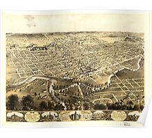 Panoramic Maps Bird's eye view of the city of Fort Wayne Indiana 1868 Poster