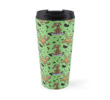 Cartoon Dog and Cat Grunge Pattern Travel Mug