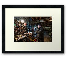 Don in His Shop Framed Print