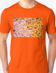 Floral Overflow - Happy Pink and Orange Autumn Mums Unisex T-Shirt