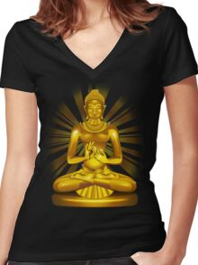 Buddha Siddhartha Gautama Golden Statue Women's Fitted V-Neck T-Shirt