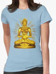 Buddha Siddhartha Gautama Golden Statue Womens Fitted T-Shirt