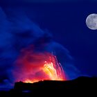 Moon Over Kilauea Volcano at Kalapana  by Alex Preiss