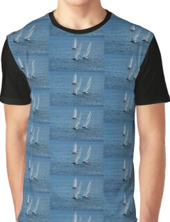Into The Wind - Crisp White Sails On a Caribbean Blue Graphic T-Shirt