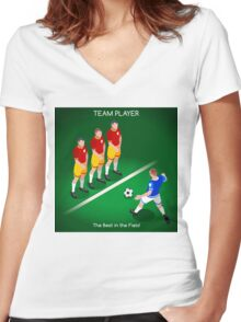 Football Team Player Women's Fitted V-Neck T-Shirt