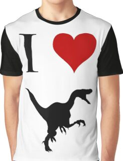 I Love Dinosaurs - Velociraptor Graphic T-Shirt