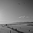 Santa Monica Beach on a cold windy March afternoon. by Megan Gardner