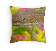 The Carolina anole (Anolis carolinensis) Throw Pillow