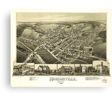 Panoramic Maps Minersville Pennsylvania 1889 Canvas Print