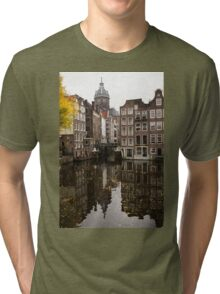 Amsterdam - Reflecting on Autumn Canal Houses Tri-blend T-Shirt