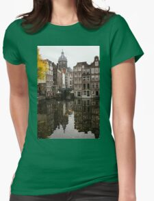 Amsterdam - Reflecting on Autumn Canal Houses Womens Fitted T-Shirt