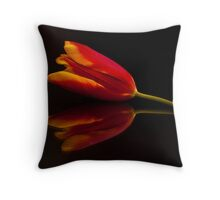 Red Tulip Reflection Throw Pillow