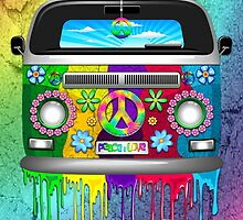 Hippie Van Dripping Rainbow Paint by BluedarkArt