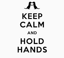 Keep Calm and Hold Hands (Otters holding hands) Black design Womens Fitted T-Shirt