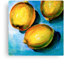 Lemons on Blue Canvas Canvas Print