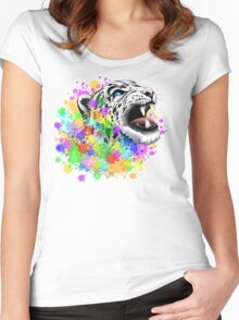 Leopard Psychedelic Paint Splats Women's Fitted Scoop T-Shirt