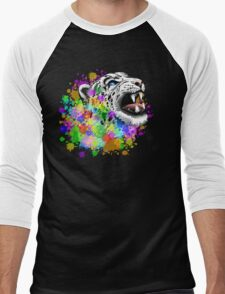 Leopard Psychedelic Paint Splats Men's Baseball ¾ T-Shirt