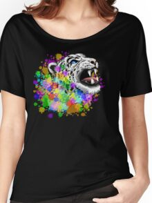 Leopard Psychedelic Paint Splats Women's Relaxed Fit T-Shirt