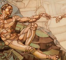 first cubist man drawin in coloured pencil by Ronald Eschner