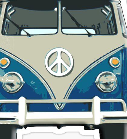 Volkswagen, Van, VW, Camper, Blue, Split screen, 1966 Volkswagen, Kombi (North America) Sticker
