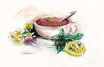 Afternoon Tea - watercolor painting  by Rebecca Rees