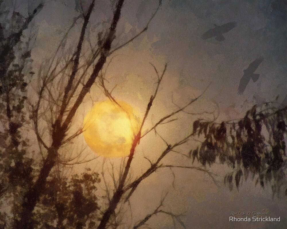 Full Flower Moon (art & poetry) by Rhonda Strickland