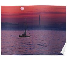 Moon Light Sailing on the Bay Poster