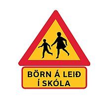 Caution Children School, Traffic Sign, Iceland Photographic Print