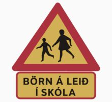 Caution Children School, Traffic Sign, Iceland One Piece - Short Sleeve