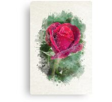 Red Rose Watercolor Art Canvas Print