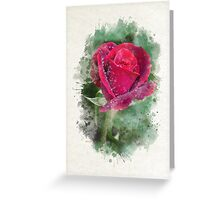 Red Rose Watercolor Art Greeting Card