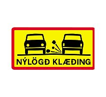 Newly-Laid Road Surface, Traffic Sign, Iceland Photographic Print