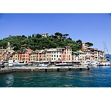 Pastel painted houses on the seafront at Portofino, Liguria, Italy Photographic Print