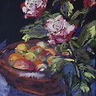 Redgum fruit bowl & roses by Terri Maddock