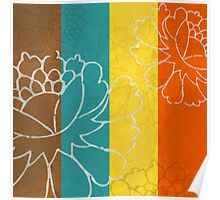 Chinese Flowers & Stripes - Orange Yellow Turquoise Brown Poster