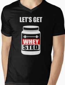 Let's Get Whey-Sted Funny Gym Bodybuilding Protein Mashup Mens V-Neck T-Shirt