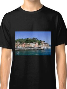 Pastel painted houses on the seafront at Portofino, Liguria, Italy Classic T-Shirt
