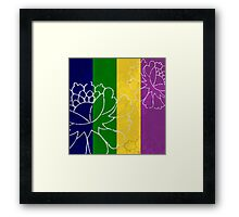 Chinese Flowers & Stripes - Purple Yellow Green Blue Framed Print